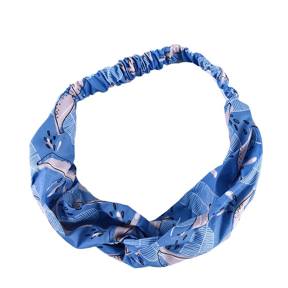 LANWF Banana Leaf Print Headbands Cross Knotted Head Wrap Elastic Wide Side Hair Band Hair Accessories,Blue