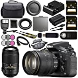 Nikon D810 DSLR Camera w/24-120 VR Lens 1556 55-300mm f/4.5-5.6G ED VR Lens + 128GB SDXC Card + 58mm 3 Piece Filter Kit + 77mm 3 Piece Filter Kit + Universal Slave Flash unit Bundle