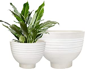 Flower Pots Indoor Outdoor - Garden Planters, Decorative Planters Pots, Round Wood Texture, White (7.5 + 9.8 Inch)