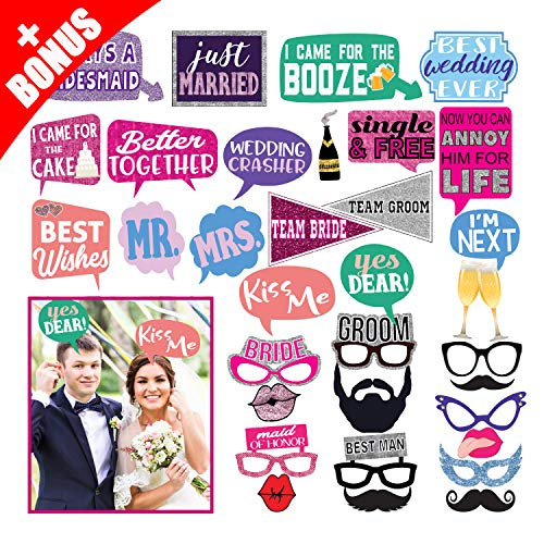 Deluxe 33 Wedding Photo Booth Props Kit, Extra Large, Fun & Unique Memorable Designs, Bridal Party Decorations Supplies, Strong Bamboo Stick Sturdy Cardstock, Funny, Clever Signs by FunPartyProps
