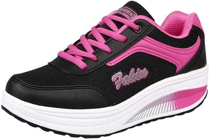 RYTEJFES Calzado Deportivo Zapatilla PU Plataforma para Mujer De Moda Zapatillas De Deporte Zapatos Deportivos Corte Alto Zapatos para Correr con Transpirable Malla: Amazon.es: Hogar