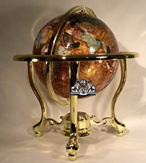 Amazon 14 blue lapis gemstone globe with gold stand toys games 14 tall amber pearl gold stand gem gemstone world map globe globes maps gumiabroncs Image collections