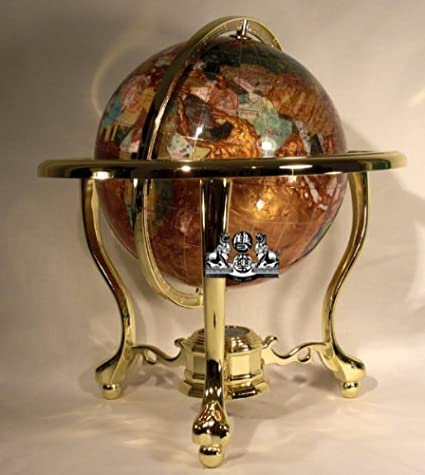 Amazon 14 tall amber pearl gold stand gem gemstone world map 14quot tall amber pearl gold stand gem gemstone world map globe globes maps gumiabroncs Choice Image
