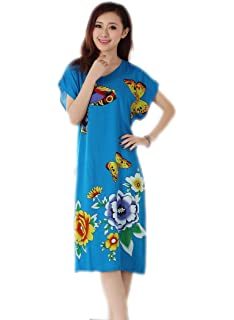 JTC Women s Flower Printed Cotton Sleepwear Pajamas Night Dress Loose Bathrobe  Gown 343d7e8e1