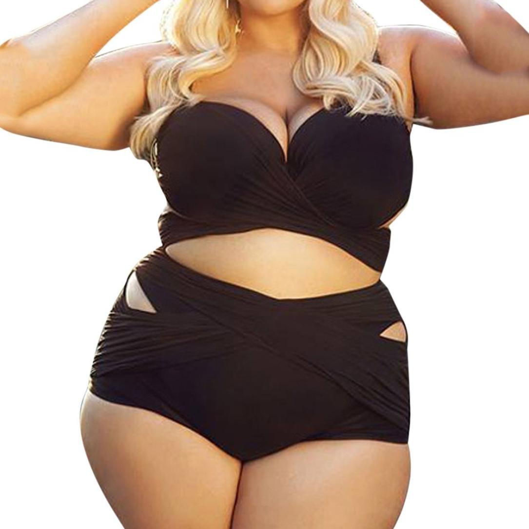 Longay Women Plus Size Two Piece Black Bikini Set Push-up Padded Swimsuit Bandage Swimwear Beachwear Bathing Suit (XXXL)