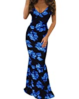 FISACE Women's Floral Off Shoulder Bodycon Maxi Dress For Evening