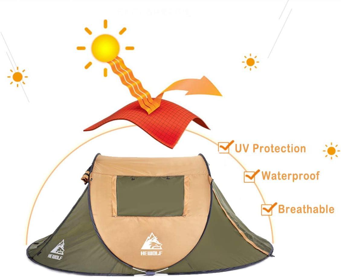 HEWOLF 4 personas pesca impermeable senderismo camping port/átil Tienda de campa/ña autom/ática para 2 para la playa