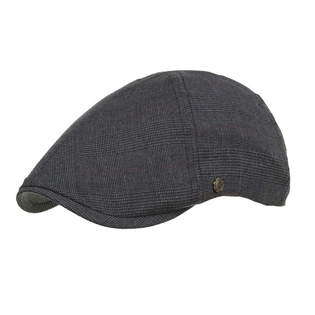 Juqilu Berretto piatto stile vintage da uomo, berretto piatto scozzese, cappello a becco d'anatra, vestibilità regolabile per abbigliamento casual 6 colori per scelta cappello a becco d'anatra