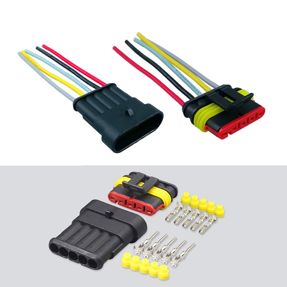 pour Bateau Camion Auto Scooter Moto FULARR/® 5 Kit Professionnel 5 Pin Voiture Fil Electrique Etanche Connecteur Terminal Plug Prise avec Fil