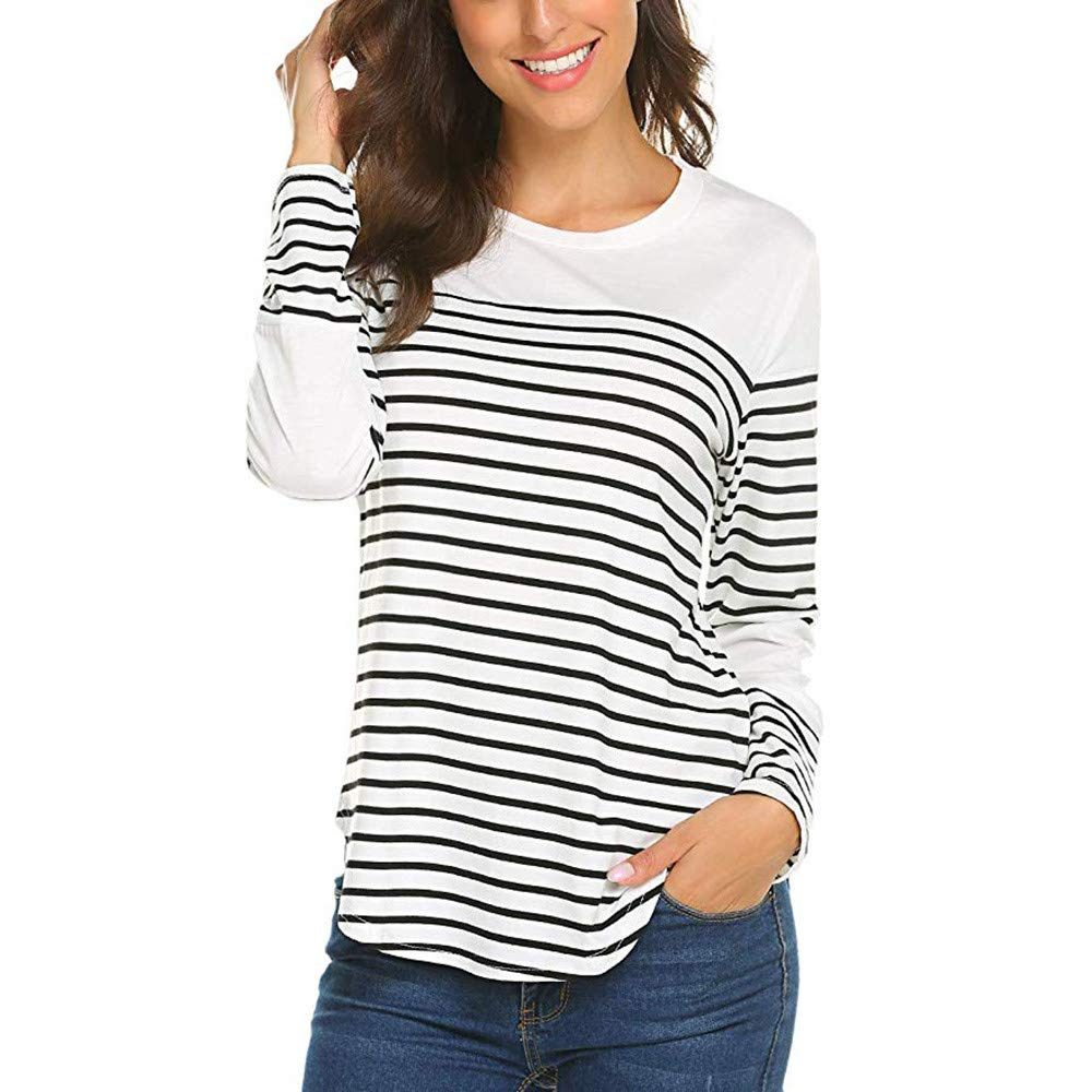 Kumike Fashion Women Autumn Long Sleeve O Neck Striped Patchwork Pullover Tshirt Tops Blouse