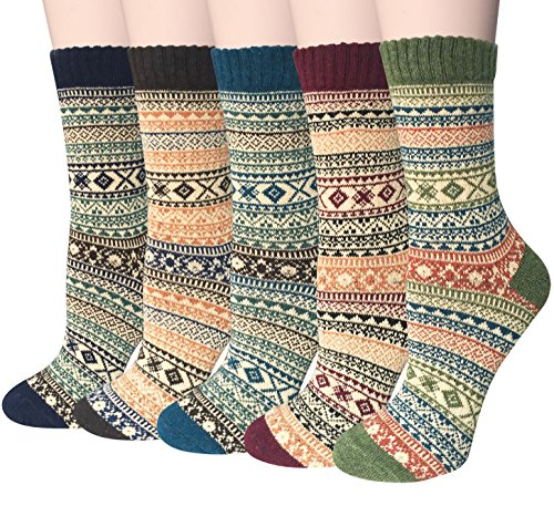 Loritta 5 Pairs Womens Vintage Style Winter Warm Thick Knit Wool Cozy Crew Socks,Free ()