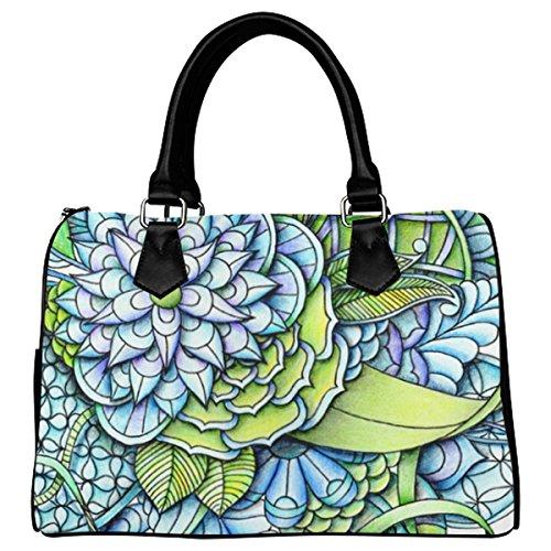 Jasonea Women Boston Handbag Top Handle Handbag Satchel Peaceful Garden Basad128983