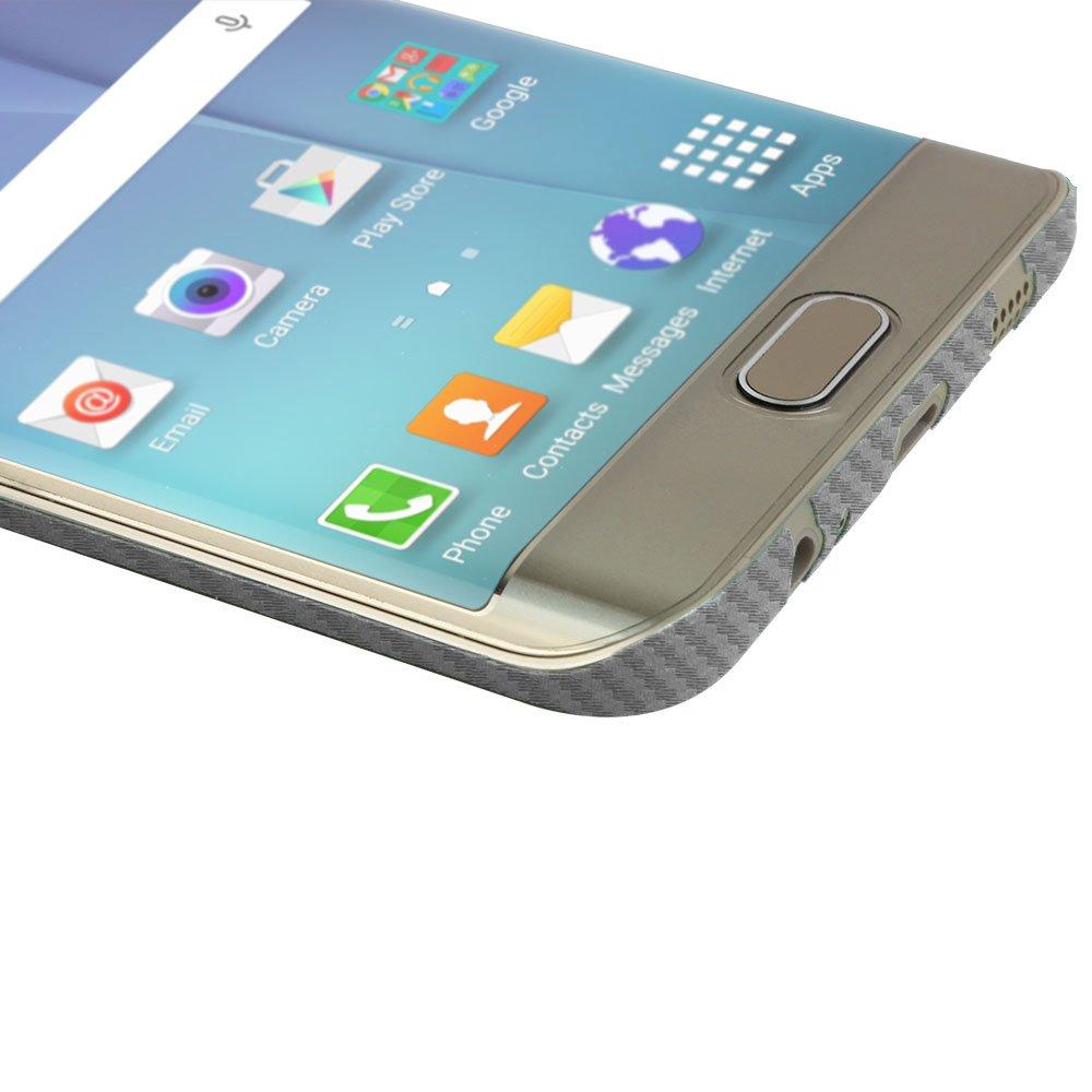 Samsung Galaxy S6 Edge+ Screen Protector + Silver Carbon Fiber Full Body, Skinomi TechSkin Silver Carbon Fiber Skin for Samsung Galaxy S6 Edge+ with ...