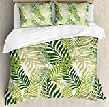 Ambesonne Leaves Duvet Cover Set Queen Size by, Tropical Exotic Palm Tree Leaves Natural Botanical Spring Summer Contemporary Graphic, Decorative 3 Piece Bedding Set with 2 Pillow Shams, Green Ecru
