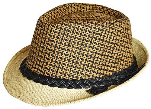 PATT Ind. 2 Tone Fedora Straw Trilby UV+50 Short Brim Cuban Panama Style New Design Women Men Unisex Medium 57 Braid Black/Brown (New Braid Fedora)