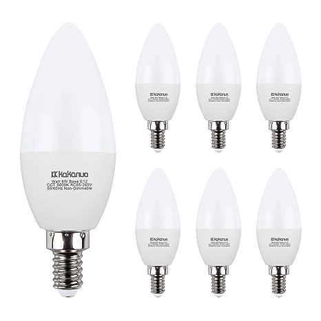 pack 6 Equivalent Bulbs Led 5000k Candle Bulbs B11 Of Bulb E12 Candelabra 6w Bulbs White 60w Chandelier Daylight Light Kakanuo 3AR54Ljq