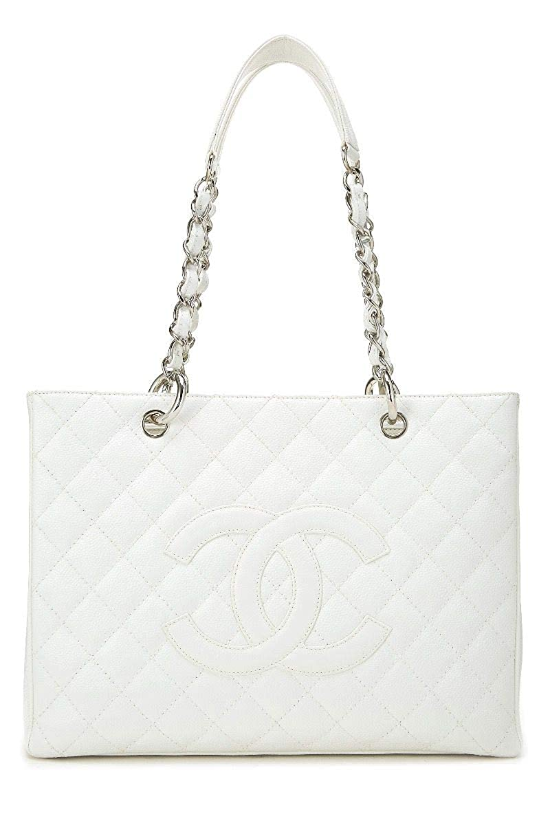 CHANEL White Quilted Caviar Grand Shopping Tote (GST) (Pre-Owned)
