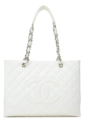 05ee370ec402 Amazon.com  CHANEL White Quilted Caviar Grand Shopping Tote (GST)  (Pre-Owned)  Shoes