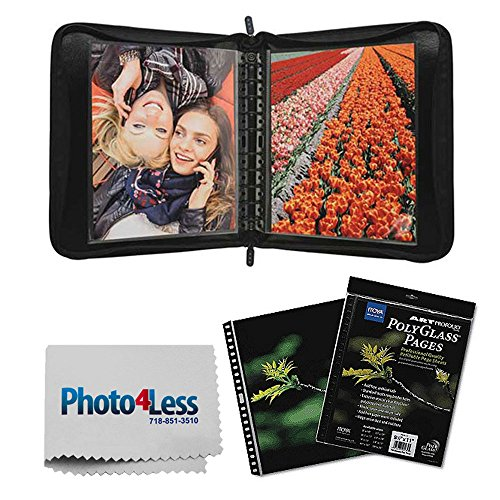Itoya Zipper Portfolio Case with Multi-Ring Binder includes 5 Polyglass Pocket Pages (18 x 24