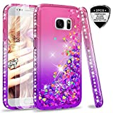 LeYi Galaxy S7 Case with Glass Screen Protector [2 pack], Glitter Liquid Flow Luxury Clear Transparent Diamond Personalised TPU Silicone Shockproof Phone Cover Samsung Galaxy S7 G930 Pink Purple