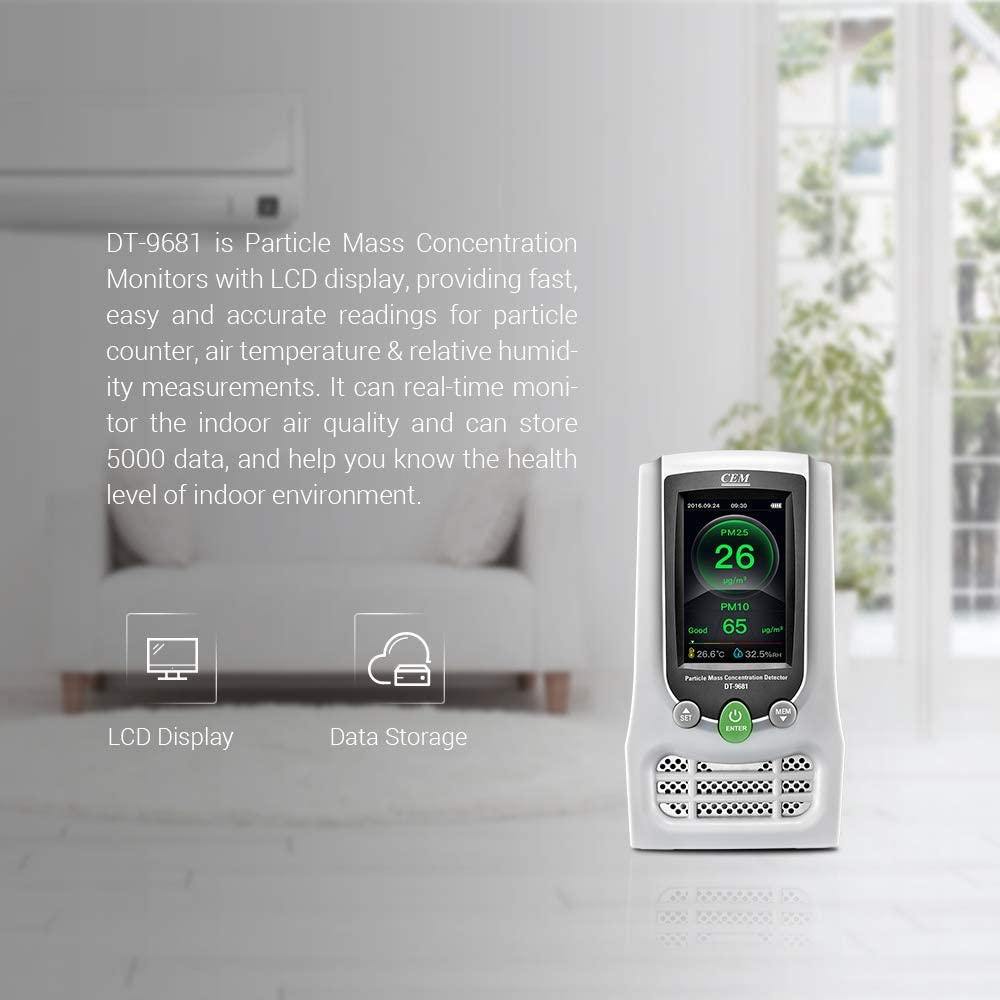 HCHO CEM DT-9681 Indoor PM2.5 CO2 HCHO Air Quality Meter Particle Mass Concentration Monitors with LCD Display Testing Formaldehyde PM2.5//PM10 CO2 Humidity and Temperature Real Time Monitoring