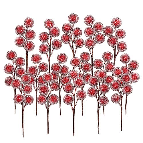 Bilipala--1 Artificial Red Holly Leaves Berry Picks Stems Fake Winter Christmas Berries Decor for DIY Garland and Holiday Wreath Ornaments, 16 Branch