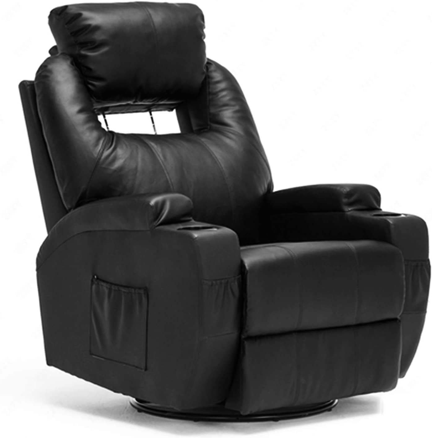 Mecor Massage Recliner Chair with Headrest Adjustable PU Leather Recliner Chair with Heat Rocker Recliner with 360 Degree Swivel/Cup Holders/Remote Control for Living Room (Black-2)