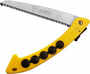 SHVIRO Folding Hand Saw - Ideal Tree Pruning Tool for Your garden - High Carbon Steel Blade with Heat Treated Rugged Teeth - Durable and Easy to Use - 7 inch - Yellow