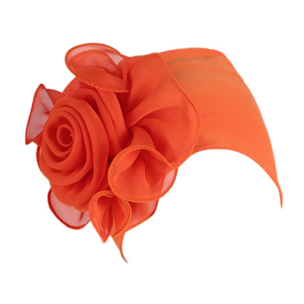 Womens Great Hats,Women Ladies Retro Big Flowers Hat Turban Brim Hat Cap Pile (Orange, Large)