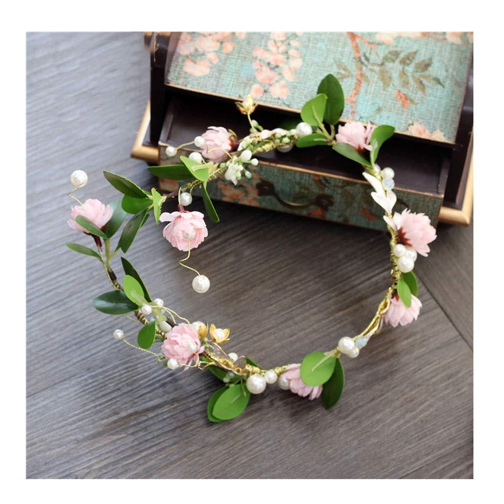 Wreath Flower Girl Pink Flower Green Leaf Long Hair Hoop Headband Chain Pearl Bride Headdress Wedding Jewelry (Size : 55cm)