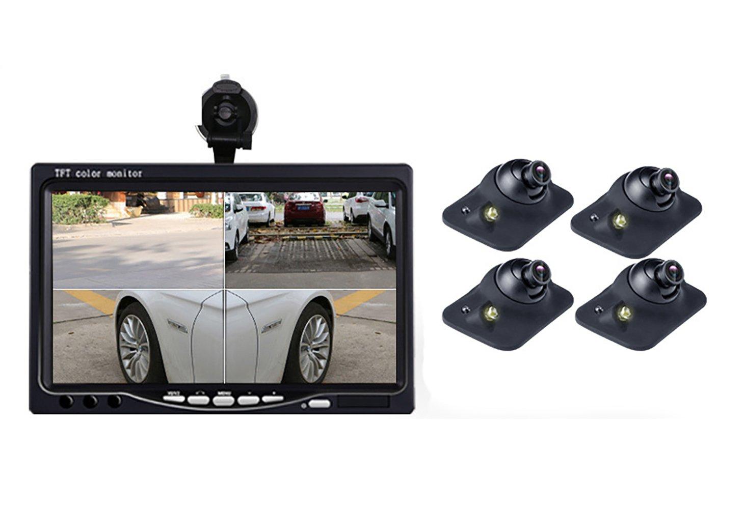 OBEST 7インチ4分割対応液晶モニター + 4個防水赤外線暗視バックカメラ バックカメラモニターセット バックカメラ4個搭載 12V/24V両対応 前方死角カメラ フロント/バックカメラ兼用 正像/鏡像切替 (モニター+3カメラ) B079GGRJXZ モニター+3カメラ  モニター+3カメラ