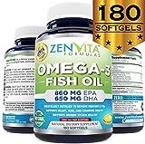 Omega 3 Fish Oil Capsules - 180 Softgels, 1640mg Omega 3, 860mg EPA, 650mg DHA, Lemon Flavored - NO Fishy Aftertaste, Pharmaceutical Grade, Molecularly Distilled & Mercury Free