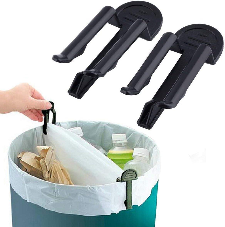 nbvmngjhjlkjlUK Poubelle Pratique Pince pour Sac /à ordures en Plastique Clip de Sac Poubelle Fixe Support de Sac Poubelle Pince /à ordures 2 pi/èces//Ensemble Noir