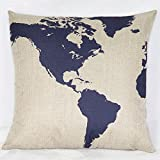 Weksi®Abtract Style Retro Cotton Linen Square Fabric Throw Pillow Covers 18x18 Blue Map Cushion Cover Used for Decorative Pillow for Bed Couch and Sofa Pillow Covers