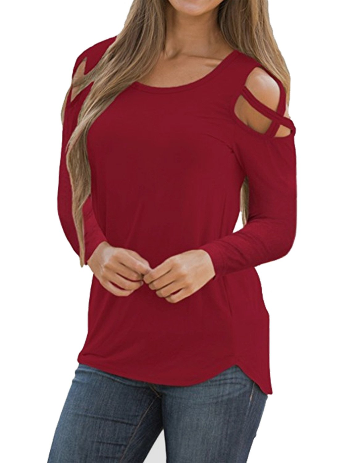 Adreamly Women's Casual Summer Long Sleeve Loose Strappy Cold Shoulder Tops Basic T Shirts Blouses Burgundy Medium