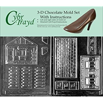 Cybrtrayd M008AB Chocolate Candy Mold, Includes 3D Chocolate Molds Instructions and 2-Mold Kit, House and Accessories