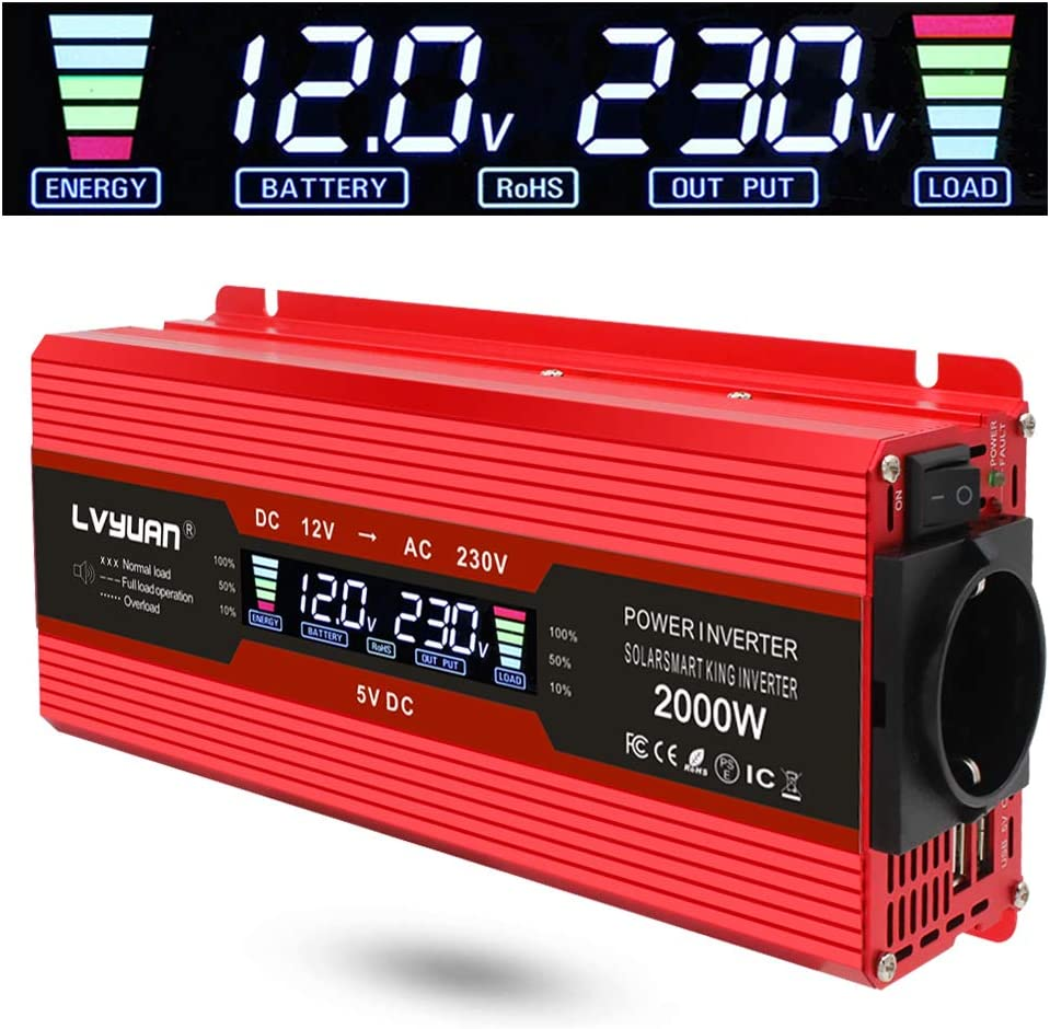 Yinleader inversor de Corriente 1000w 2000w Onda modificada 12v a 220v Transformador Enchufe Coche Dual USB para Coche Pantalla LCD Monitor, iPhone, iPad Y Tableta Laptop