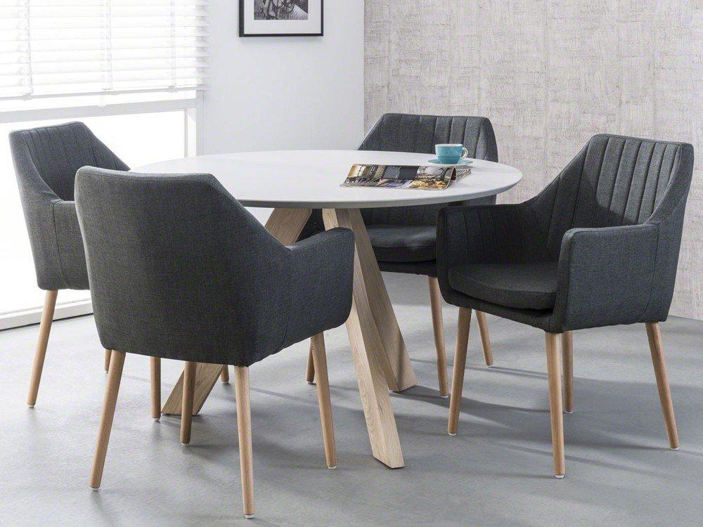 Perfect Rund Cm Gestell Eiche Massiv Tischplatte Wei Amazonde Kche U  Haushalt With Esstisch Rund Wei Holz