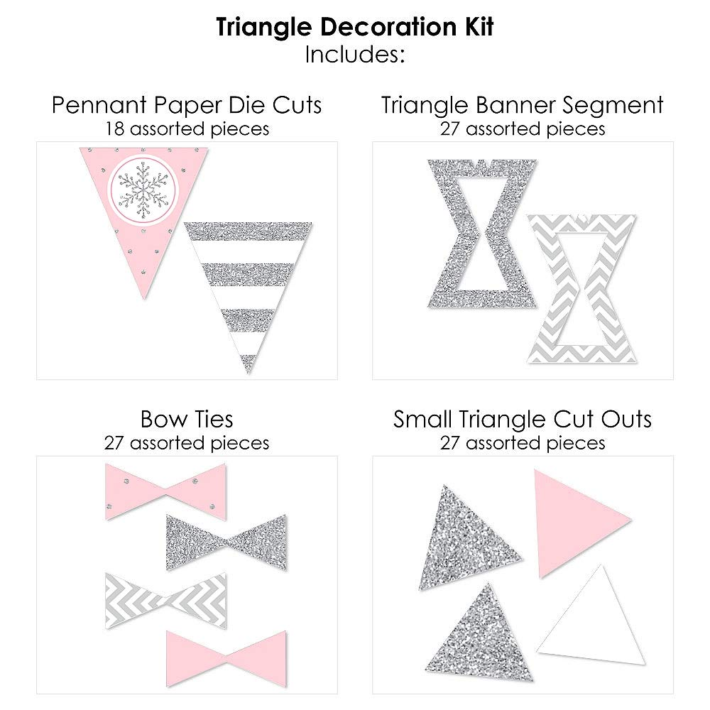 72 Piece Pink Winter Wonderland Triangle Holiday Snowflake Birthday Party or Baby Shower Decoration Kit