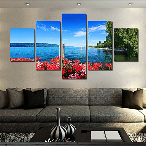 [LARGE] Premium Quality Canvas Printed Wall Art Poster 5 Pieces / 5 Pannel Wall Decor Coastal Flower Willow Painting, Home Decor Pictures - With Wooden Frame (Willow Wall)