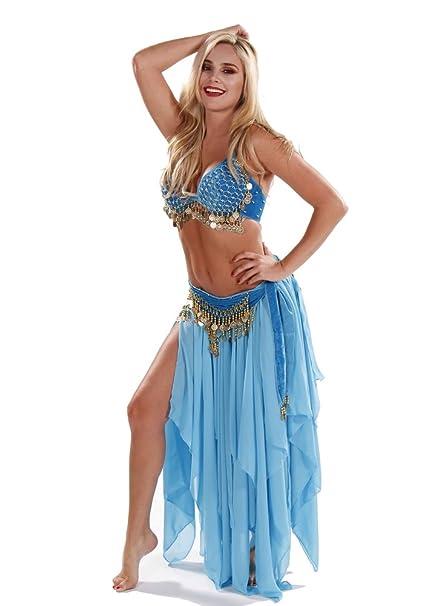 Miss para danza del vientre Danza del Vientre Sujetador de terciopelo, falda y juego de