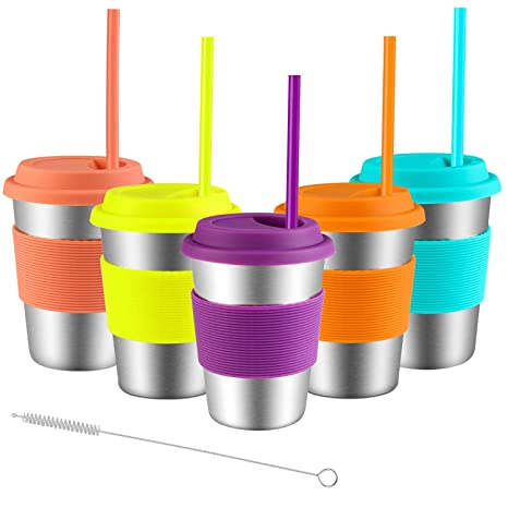 0a389def0b2 Stainless Steel Cups with Lids and Straws, Spnavy 5 Pack 12 OZ Stackable  Metal Drinking