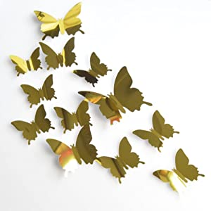Xiaolanwelc Wall Decal Butterfly Combination Mirror Sliver 3D Butterfly Wall Stickers for Home and Room Decor 12pcs (Gold)