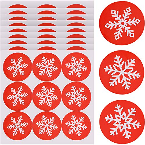 (Tatuo 360 Pieces Snowflakes Sealing Stickers Bag Envelope Seals Round Snowflake Christmas Label Sticker for Gifts Holiday Party Decorations)