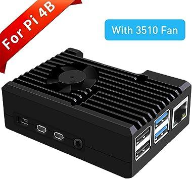 GeeekPi Raspberry Pi 4 Caja con Ventilador, Raspberry Pi 4 Caja pasivo de Aluminio con Ventilador de enfriamiento ...