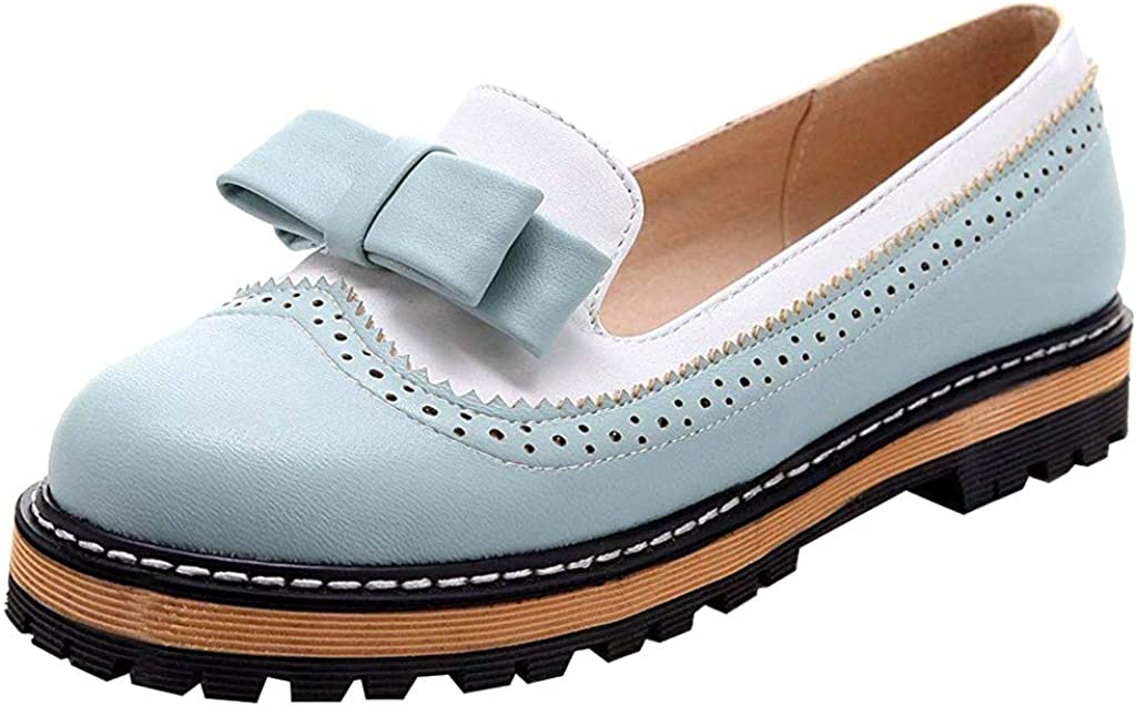 Andouy Womens Ladies Low Heel Bowknot Casual Oxfords Leather Shoes