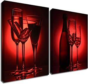 Gardenia Art - Red Cocktail Wine Canvas print kitchen decorations theme sets Wall Art for dining room bar decor 12x16 in 2 panels stretched and framed