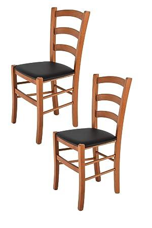 Tommychairs sillas de Design - Set 2 sillas Modelo Venice para Cocina, Comedor, Bar y Restaurante, con Estructura en Madera Color Cerezo y Asiento ...