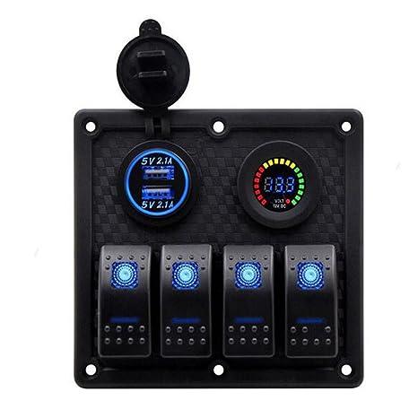 RV LKW Meipire Wasserdicht Boot Auto Switch Panel 3 Gang mit USB steckdose und voltmeter Ladeger/ät Adapter f/ür Auto Boot Wohnwagen