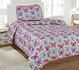 Twin Butterfly Blue Printed Quilt Bedding Bedspread Coverlet Pillow Case 2Pc